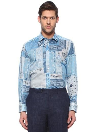 Etro Etro  İngiliz Yaka Şal Desenli Gömlek 101617654 Mavi